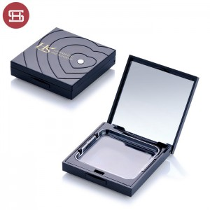 Wholesale hot sale makeup cosmetic black square pressed empty compact powder case packaging