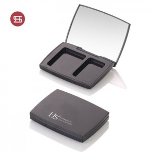 Black square empty makeup compact case with mirror