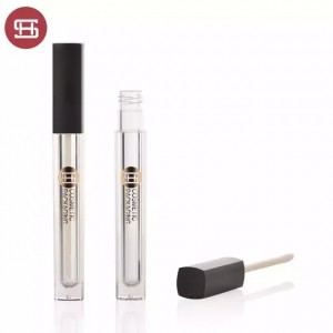 New promotion square makeup cosmetic plastic empty lipgloss tube containers with brush