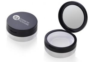 round  empty loose powder case with mirror