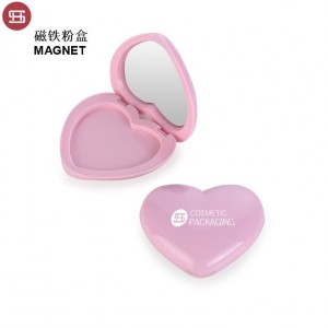 9468# Hot sale Heart Shape compact powder case with mirror new label