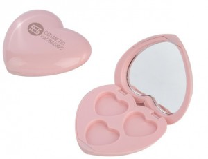 9468B# Hot sale 3 color Heart Shape eyeshadow case with mirror new label