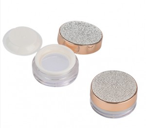 luxry round  empty loose powder case