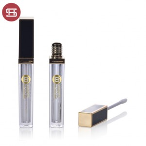 New promotion clear square makeup cosmetic plastic empty lipgloss tube containers with brush