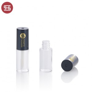 New promotion clear round makeup cosmetic plastic empty lipgloss tube containers with brush