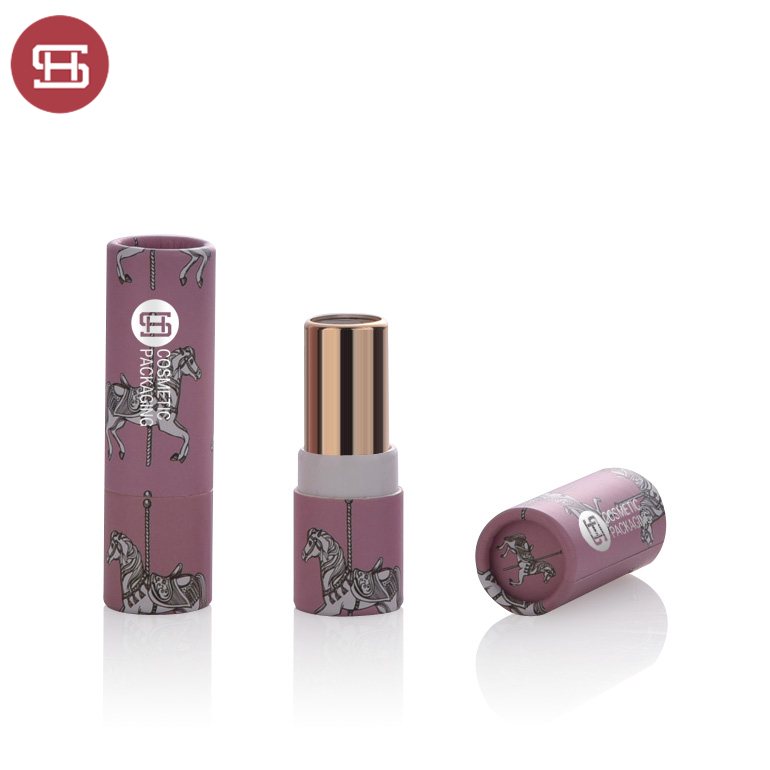 9700# Eco friendly lip balm tube Custom logo high quality cardboard paper round lipstick packaging Featured Image