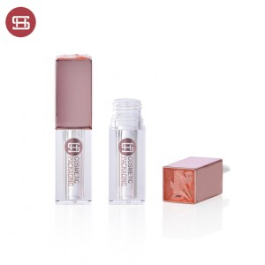 9777# new pink cap suqare and thick wall empty plastic lipgloss tube container  custom new design empty plastic lipgloss tube container