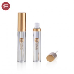 new empty round lipgloss container gold color cap custom new design empty plastic lipgloss tube container