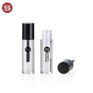 new empty round lipgloss container black color cap custom  new design empty plastic lipgloss tube container