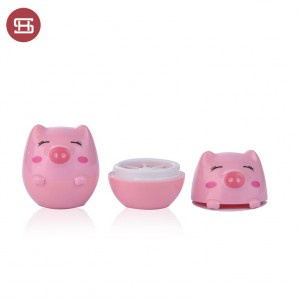 9787#Cute Pink Pig Shaped Empty Plastic Lip Balm 5g Container Jars