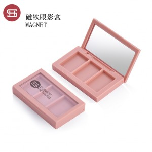 9807# Hot sale 3 color suqare magnetic eyeshadow case new label