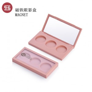 9809# Hot sale  3 color suqare magnetic eyeshadow case new label