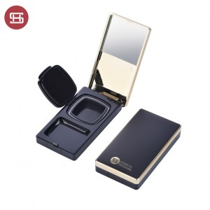 9840#New Luxury Black Gold Square Compact Powder BB Cushion Cream Case with Puff