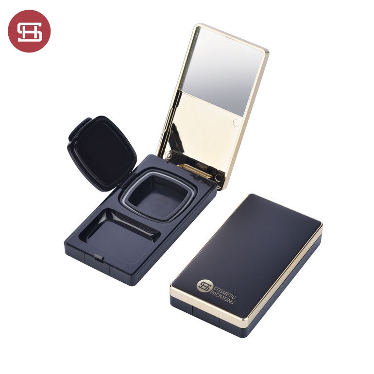 9840#New Luxury Black Gold Square Compact Powder BB Cushion Cream Case with Puff Featured Image