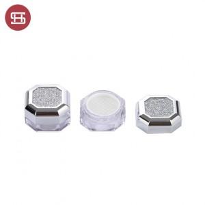 9860# Octagonal shape empty siliver cap plastic case loose powder