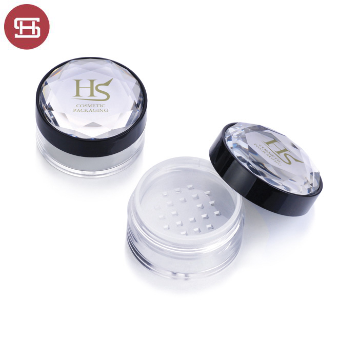 Wholesale cosmetic makeup  shine flash bling round custom empty loose powder case container packaging
