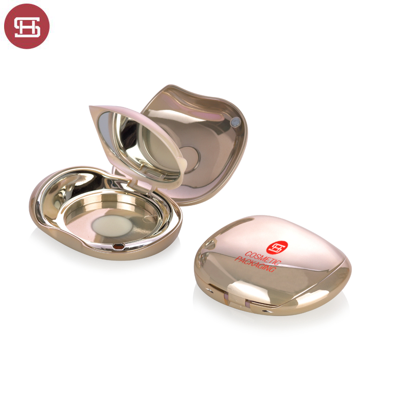 China wholesale Magnet Oem Empty Lipstick Tube - Unique custom OEM design luxury gold empty magnet compact powder case packaging with mirror – Huasheng