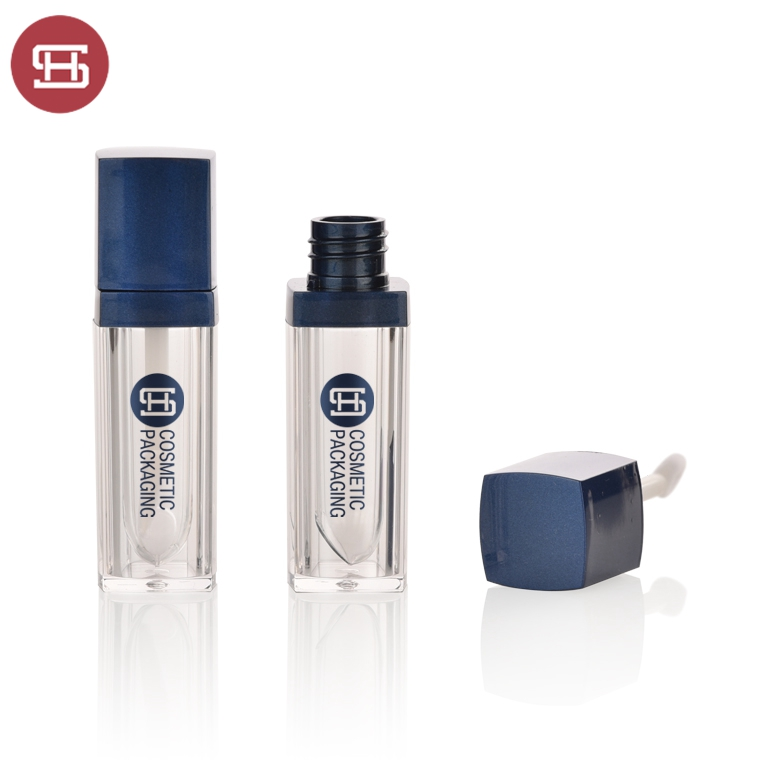 Hot sale cosmetic empty blue square empty lipgloss tube container case with brush