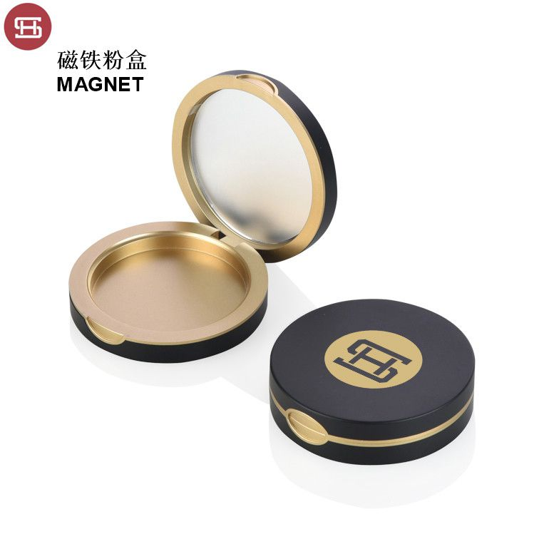 New hot products cosmetic makeup round magnet pressed empty compact powder case container  packaging