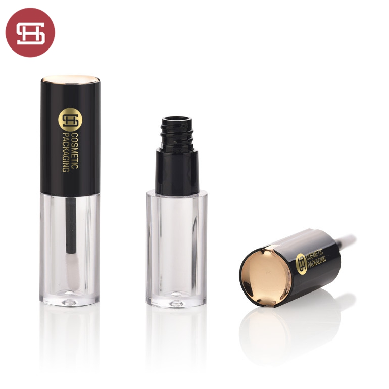Wholesale hot sale cosmetic makeup luxury cylinder gold clear round empty lipgloss tube container packaging