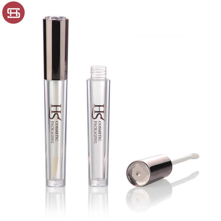 Wholesale OEM cosmetic makeup shiny round plastic custom empty lipgloss tube container packaging