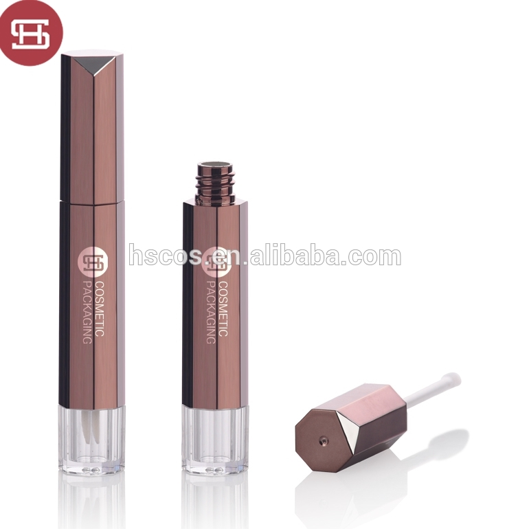 Custom cosmetic makeup frosted  empty round clear plastic lipgloss tube containers  packaging with brush
