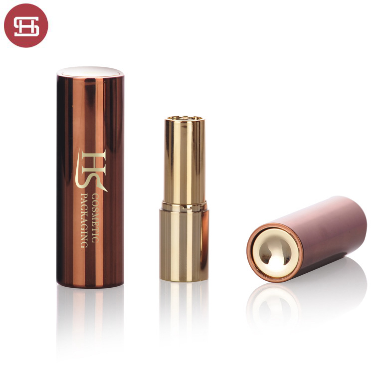 Factory Price Rose Gold Lipstick Container - Hot new products wholesale makeup cylinder round metal gold pressed plastic empty lipstick tube container – Huasheng