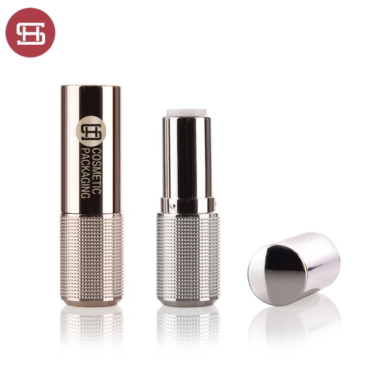 OEM/ODM Manufacturer Gold Lipstick Tube 5ml - Wholesale hot sale cosmetic makeup OEM matte silver cylinder luxury round plastic empty lipstick tube container – Huasheng