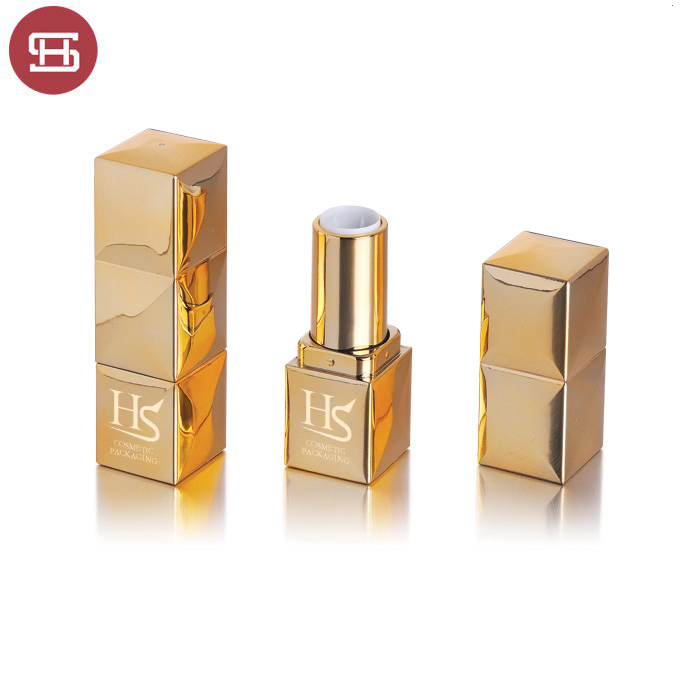 2019 hot new product makeup luxurious gold metalized plastic empty lipstick tube/casing/case/container