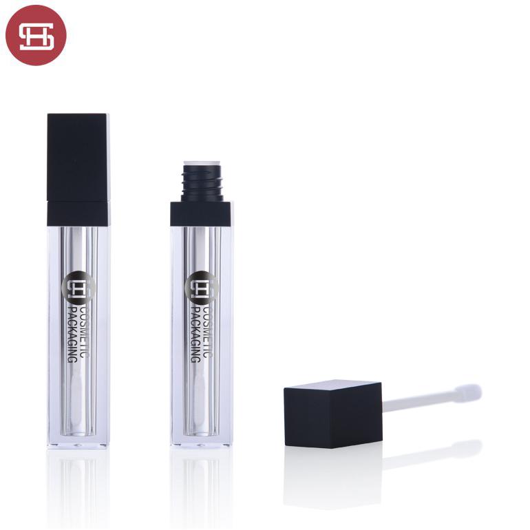Custom matte black cosmetics clear square empty lipgloss tube container