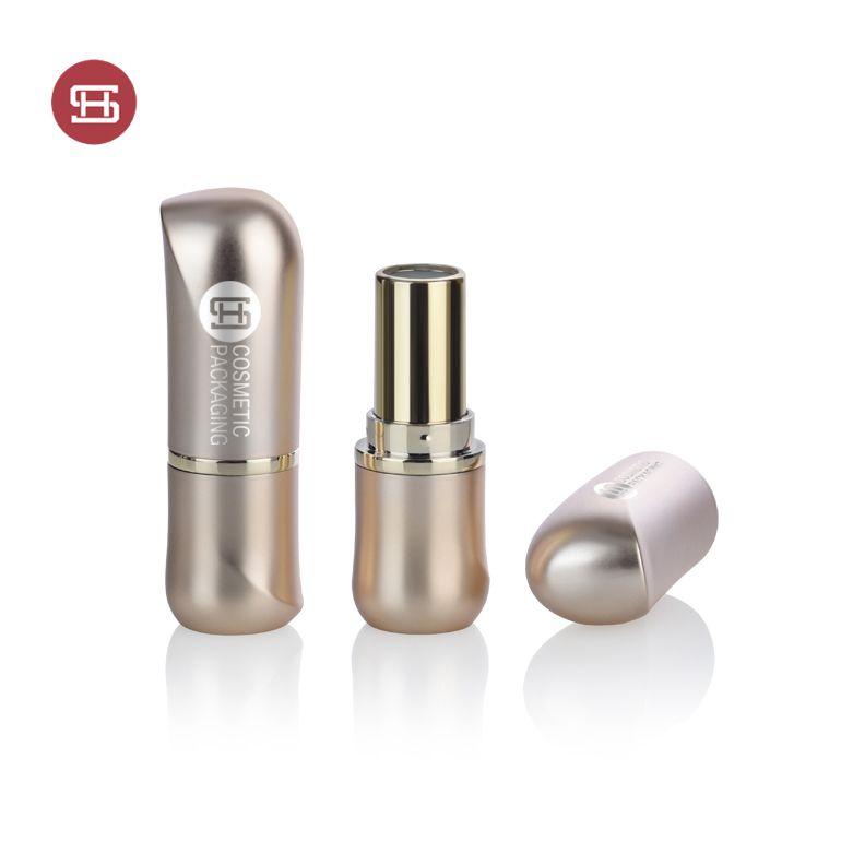 Wholesale OEM cosmetic fancy  plastic matte gold custom empty lipstick tube container case