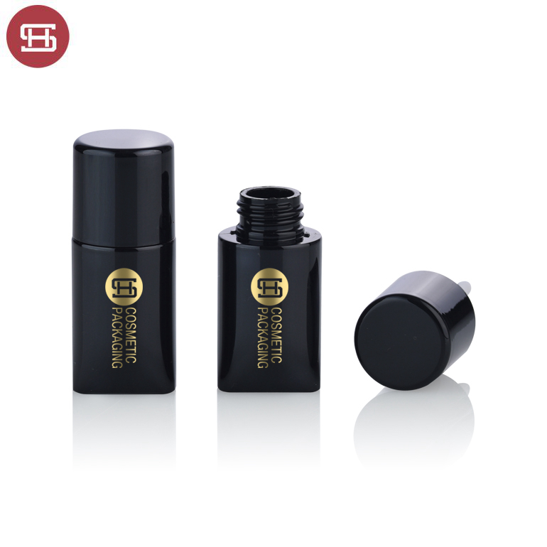Custom unique  black plastic empty  lipgloss tube container with brush