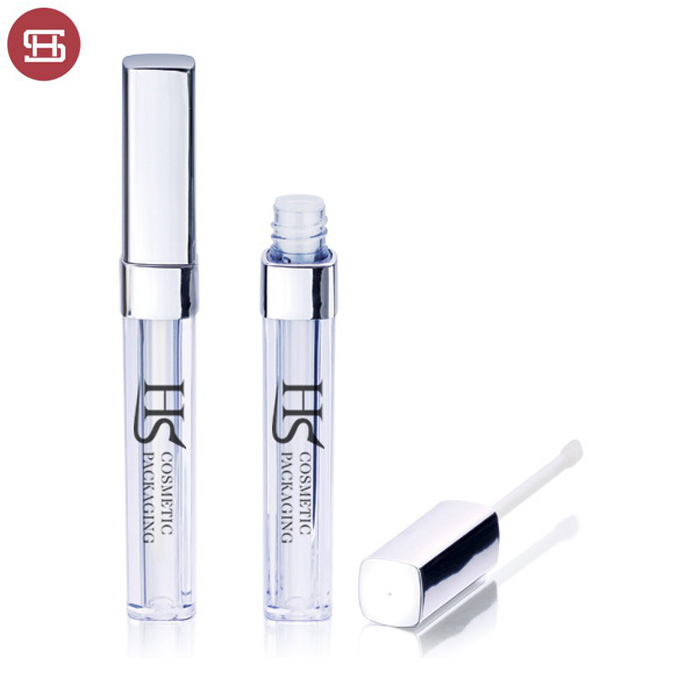 Wholesale cheap cosmetic OEM square plastic custom empty lipgloss container tube with brush