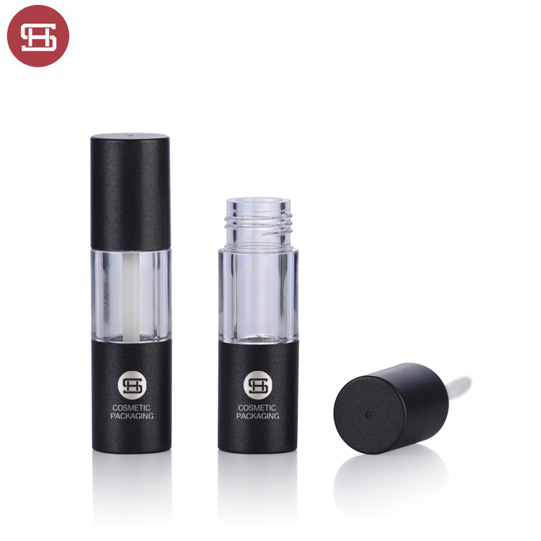 Wholesale new design  mini black round empty lipgloss container tube