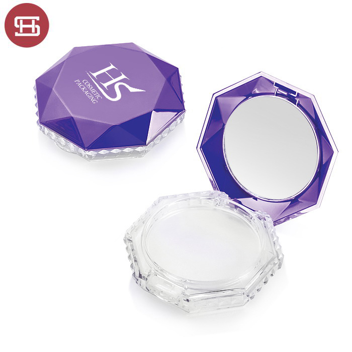 7691# Luxury OEM hot sale makeup cosmetic star pressed empty plastic round powder compact cases container packaging
