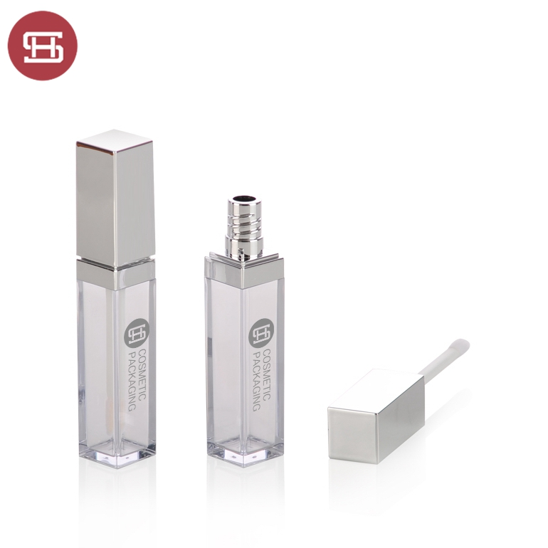 OEM best quality custom cosmetic makeup empty square lipgloss tube container packaging with brush