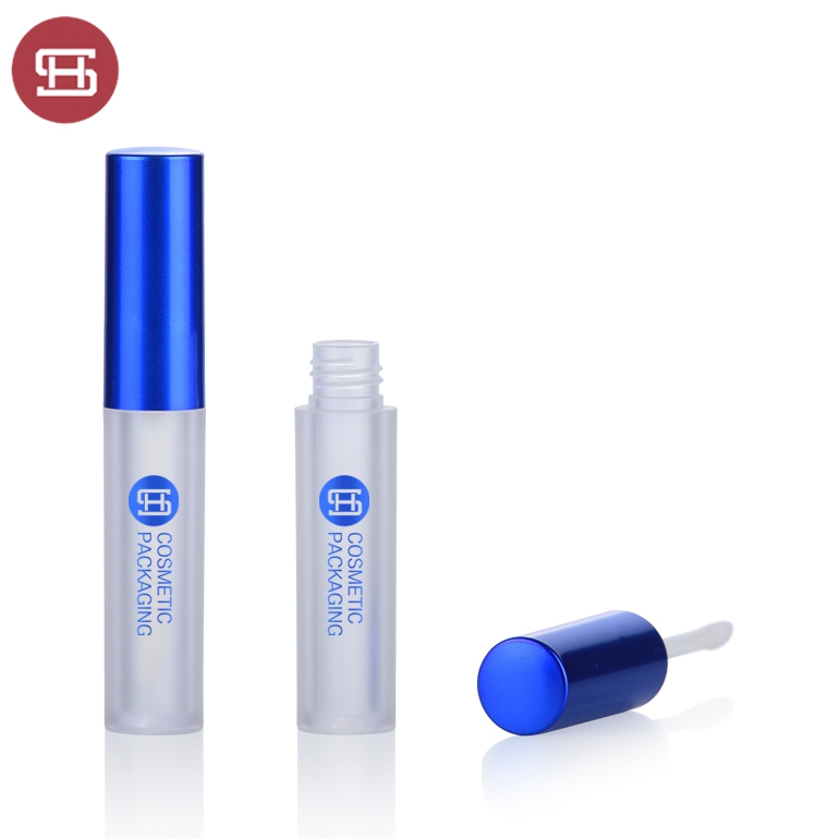 Aluminium cap 3ml frosted lip gloss case with brush