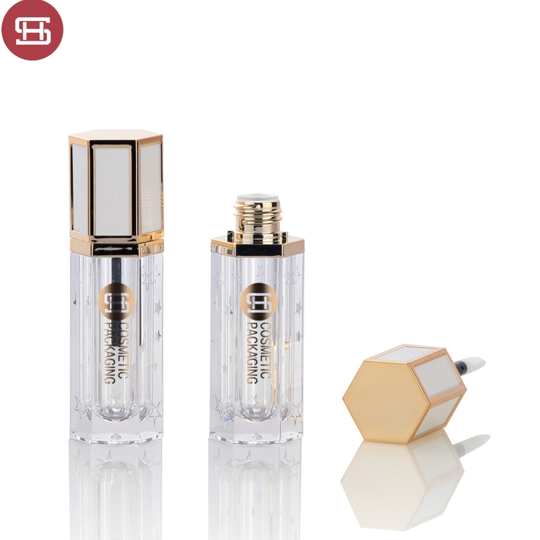 New style hot sale polygon makeup cosmetic custom shiny gold luxury  empty lipgloss tube container