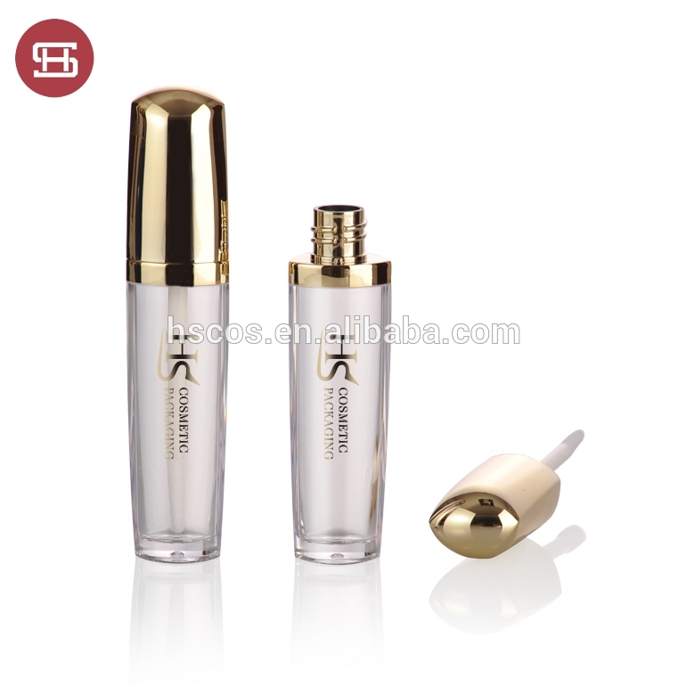 Hot sale empty luxury shiny gold lipgloss container with brush