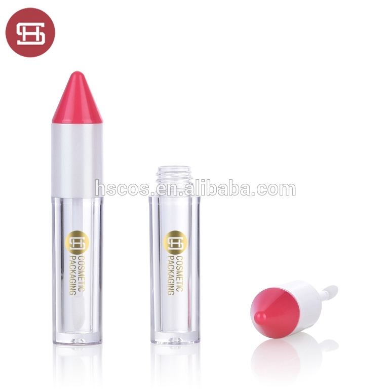 Cute pen shaped empty lip gloss tube with brush