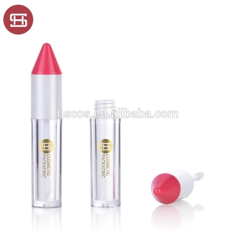 Cute pen shaped empty lip gloss tube with brush
