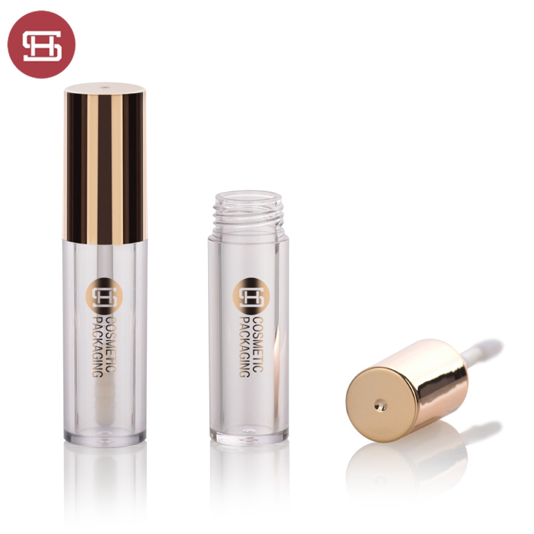 Wholesale empty luxury gold round lipgloss tube container packaging with applicator