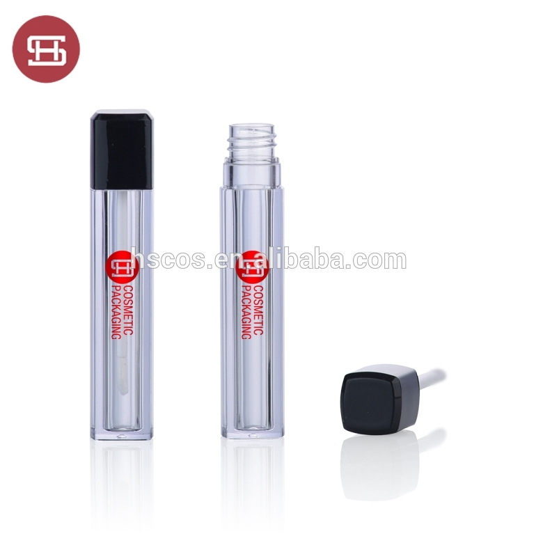 Hot sale wholesale square  clear plastic empty lipgloss container tube