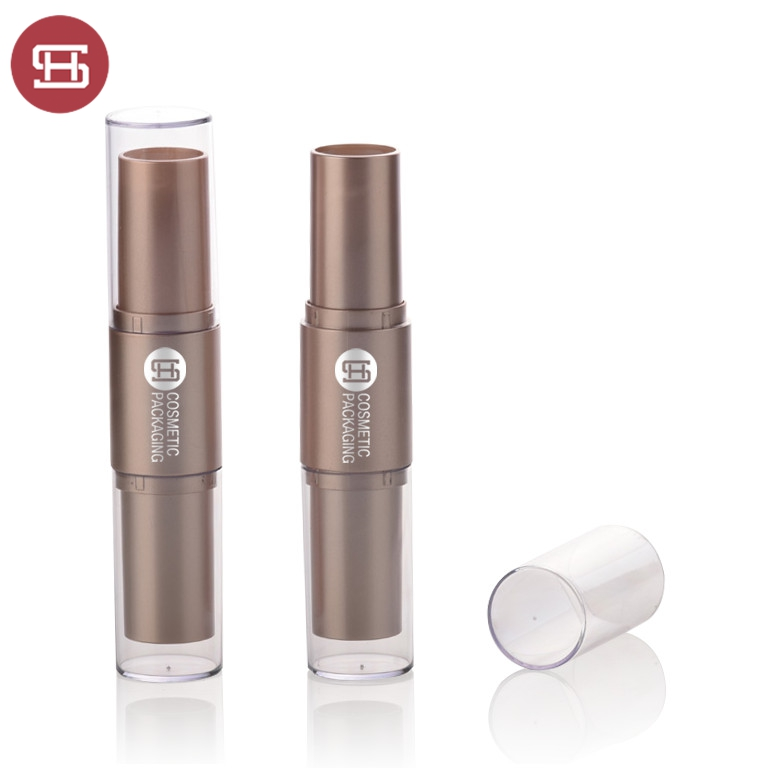 OEM makeup cosmetic plastic clear empty silm black custom dual double lipstick container tube packaging
